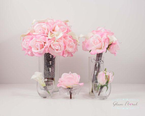 Rosa chiaro e bianco di nozze Bouquet da sposa fiore di GlamFloral