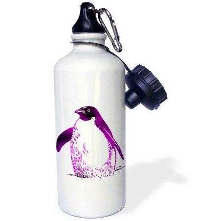 3dRose Purple Penguin - Birds - Animal Art, Sports Water Bottle, 21oz