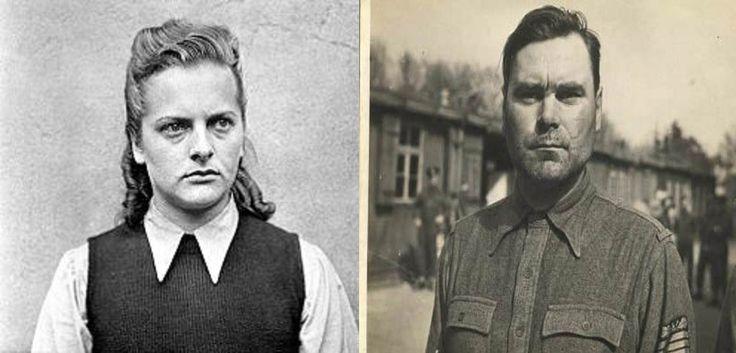 Irma Grese (izq.) y Josef Kramer (der.), ambos fueron amantes sadomasoquistas durante el tercer Reich.  Ella antes de matar a golpes a las prisioneras mas hermosas, intercambiaba comida a cambio de favores sexuales con algunas de ellas.  El, se divertía haciendo polígono de tiro con los barones, le regaló a su amante, una lámpara hecha con la piel de un prisionero.  Murieron ambos en la horca en el campo de concentración de Hamelin.