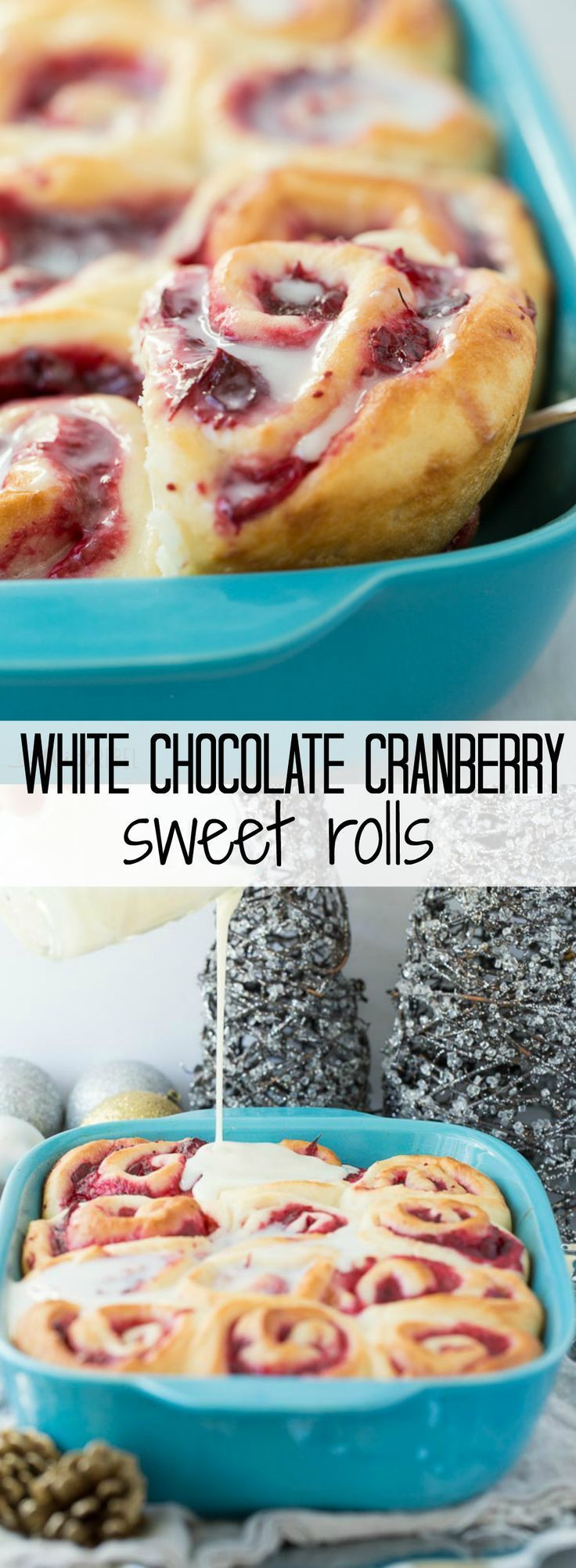 White Chocolate Cranberry Sweet Rolls! Soft, homemade bun dough filled with easy homemade cranberry filling (or sub store bought), topped with a white chocolate glaze -- perfect for Christmas brunch or a make ahead weekend breakfast!