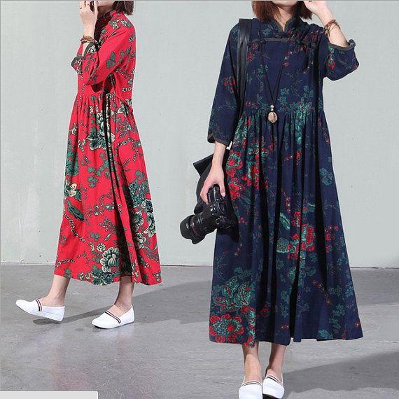 Vintage Art Ethnic cotton dress,women linen dress maxi dress,Summer dress,Loose dress,Irregular dress,Loose Fitting dress,Flower dress