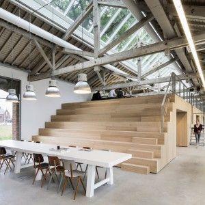 Bedaux de Brouwer transforms Dutch railway warehouse into  multi-level office  http://www.dezeen.com/2016/01/05/bedaux-de-brouwer-houtloods-restaurant-multi-level-office-bleachers-dutch-railway-warehouse/