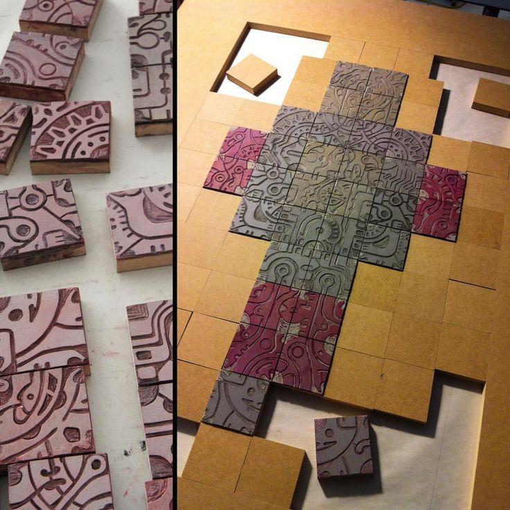 Process: Modular linocut printing blocks #relief #reliefcarving #linocut…