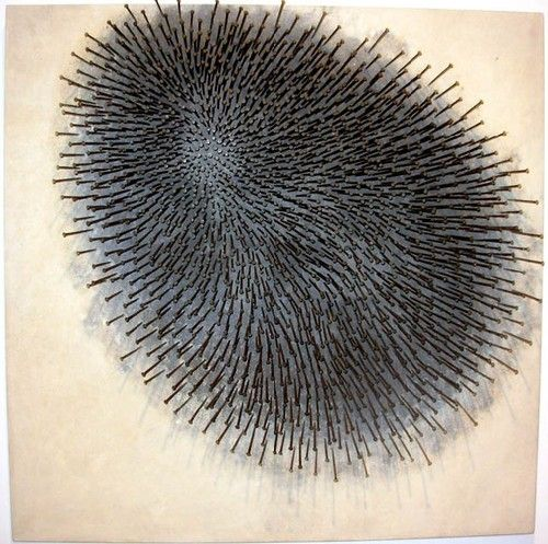 takayomomma:  Günther Uecker, Igel, 1964   nails on canvas on wood, color and graphite | 87x87cm