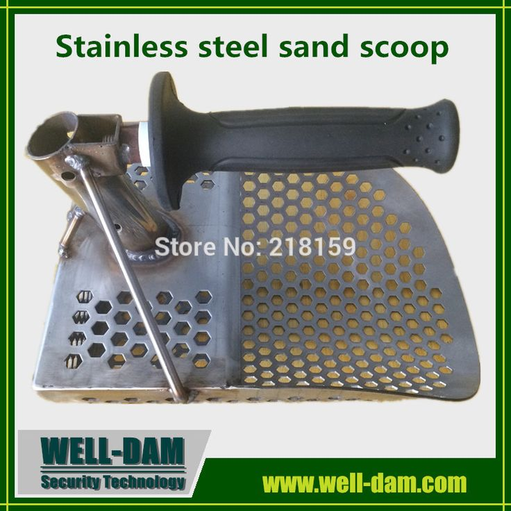 Stainless steel metal detecting scoop with extra handle