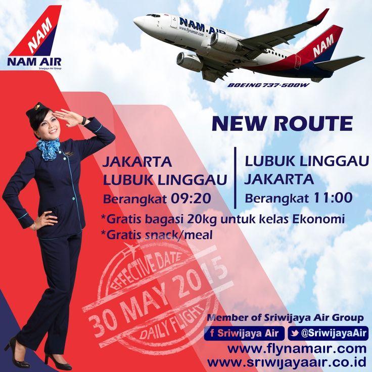 Sriwijaya Air Group News !!! Rute baru NAM Air mulai 30 Mei 2015. Terbang langsung setiap hari. #SriwijayaAirGroup