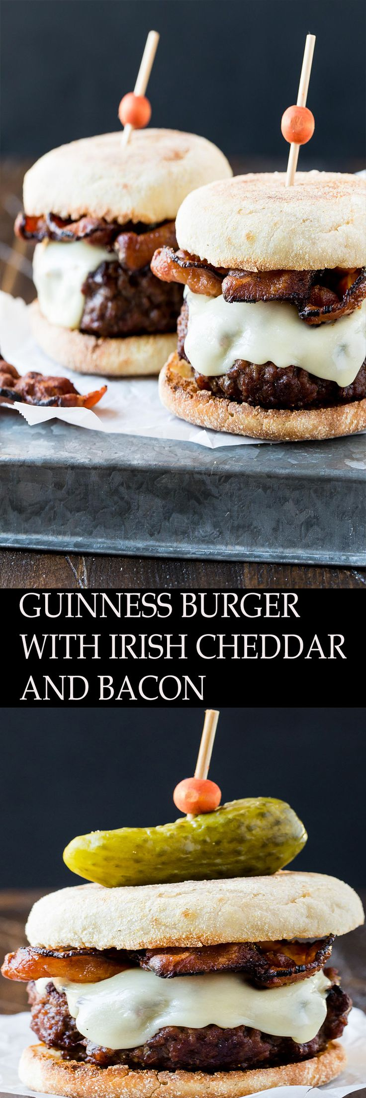 Calling all burger lovers! Make sure to include this Guinness Burger with Irish Cheddar and Bacon on your St. Patrick's Day party menu. Even folks who don't usually like beer love these burgers. The recipe calls for a mere 1/4 cup of brew, so we're not talking in-your-face Guinness taste. Rather the beer adds a nice depth of flavor that melds nicely with the garlic, onions and dijon mustard.