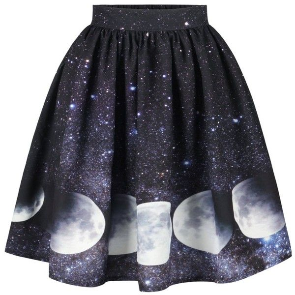 Starry Sky and Moon Print Galaxy Skirt ($12) ❤ liked on Polyvore featuring skirts, patterned skirts, blue print skirt, print skirt, galaxy skirts and cosmic skirt
