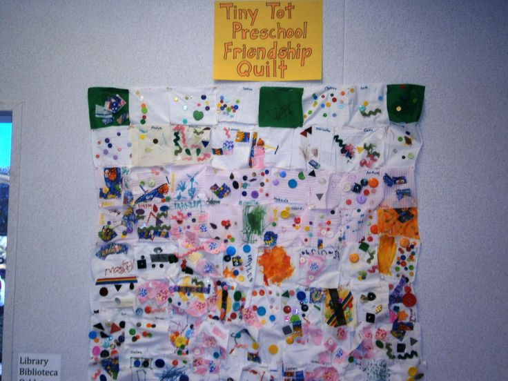 Class friendship Quilt: each child decorated a quilt square which was then put together for a beautiful class quilt -- Tiny Tot Pals