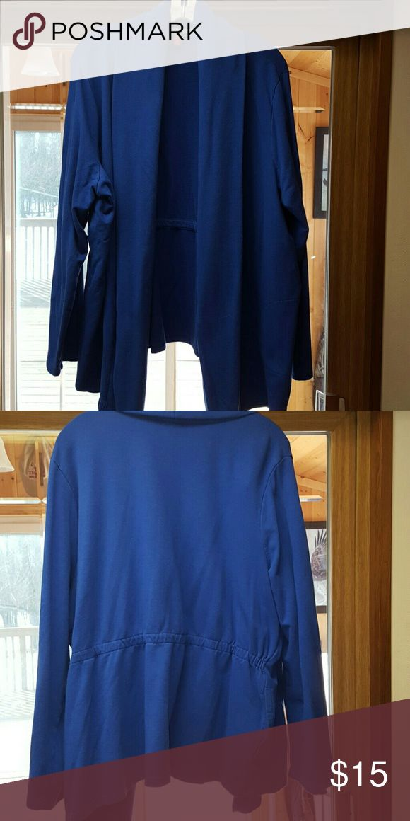 Long Sleeved Royal Blue Cardigan Jacket Long Sleeved Royal Blue Cardigan Jacket with gather on the back and slit pockets. Really comfortable and is a sweatshirt material. Merona Sweaters Cardigans