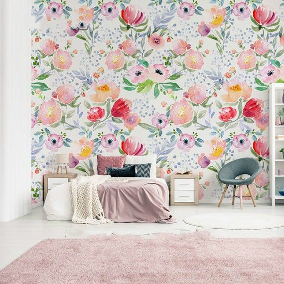 Hand Painted Watercolor Colorful Flowers Wallpaper Wall Mural
