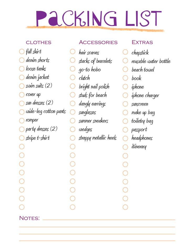 8 best Trips images on Pinterest Households, Planners and Baggage - packing list template word