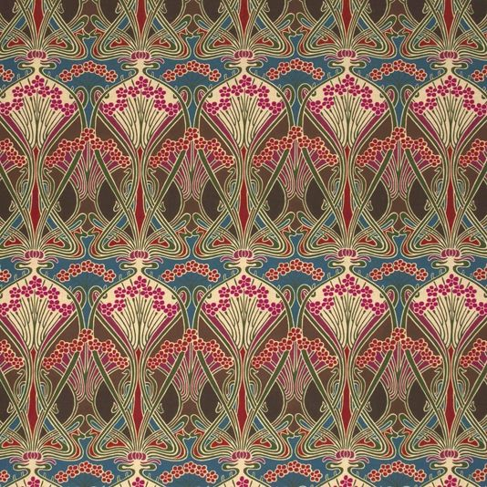 Ianthe Flower Fabric A timeless fabric design, originally created by well known French Art Nouveau designer, R. Beauclair in approximately 1900. 'Ianthe' is Greek for purple or violet flowers, suggesting that the flowers in the design may have originally been drawn from violets. It is shown here in shades of dark green, fuchsia and chestnut brown.