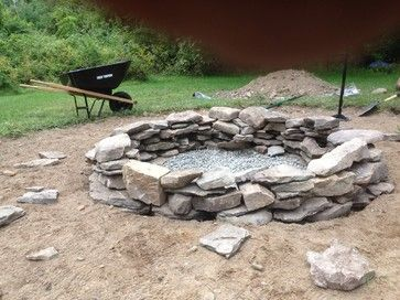 Natural Stone Fire Pit Rustic Landscape For The Yard