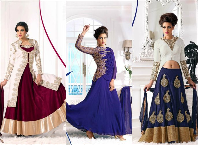 #Party wear #Indian #suits #nline including rich work like patches, embroidery, motifs and stonework. #Latest #Newly #Designer Suits with unconventional #shades as well.  Find ladies #Anarkali suits in #enchanting colors and shades like Persian blue, blush pink, bistre brown and many more.   Visit us at bit.ly/1QHL8TG