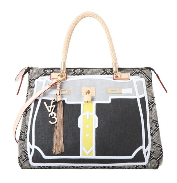 V73 K-Patch #Bag White Yellow #SS14 Collection #Shop online: https://www.v73.us/life-style/k-patch-bag Two braided leather top handles, Detachable leather shoulder strap, Top zip closure, Four internal patch pockets, Two internal zip pockets, Fully lined, Metal feet at base of bag, 100% COH: 30 cm  W: 41 cm  D:18 cm