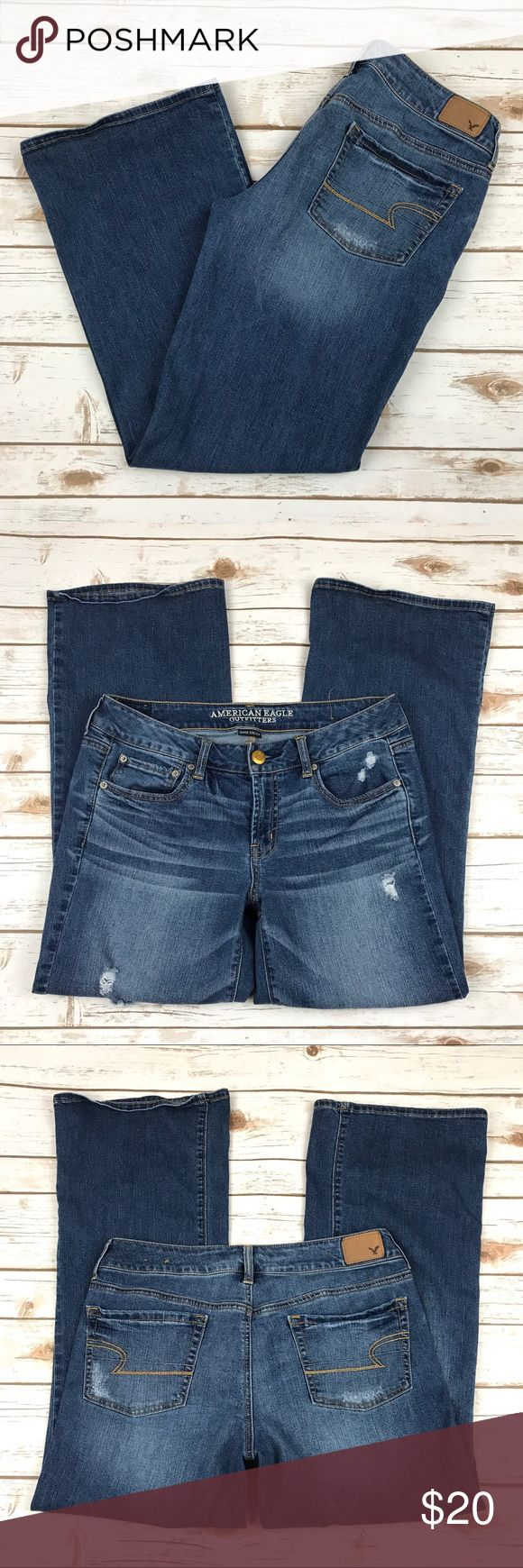 """American Eagle Favorite Boyfriend Jeans 14 Short American Eagle Favorite Boyfriend Jeans Size 14 Short Distressed Materials: 71% cotton, 14% polyester, 14 viscose  Actual measurements taken laying flat: waist- 15.5"""" rise- 8.5"""" inseam- 28.5"""" leg opening- 10.5""""   Location- C5 American Eagle Outfitters Jeans Boyfriend"""