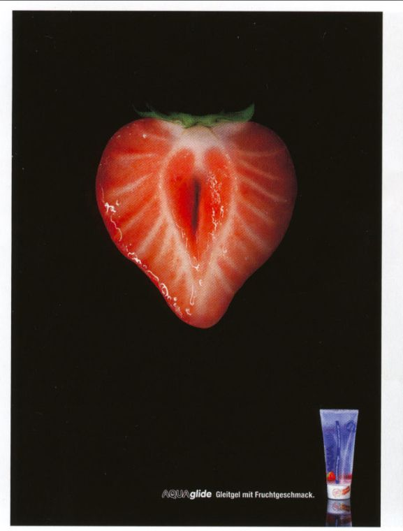 Aquaglide fruit-flavored lubricant ad via Germany.