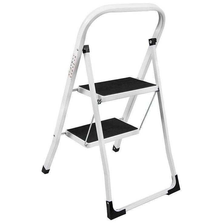 Small Portable Ladder Anti Slip Mat 2 Steps Folding Iron Safe Stool DIY Strong