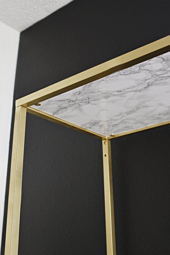diy gold marble vittsjo shelf ikea hack in 2018 office my way pinterest. Black Bedroom Furniture Sets. Home Design Ideas