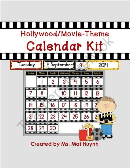 Movie Theme Calendar Kit from Diary of a Grumpy Teacher Shop on TeachersNotebook.com -  (25 pages)  - Do you have a movie or Hollywood theme in your classroom? Decorate your movie-themed classroom with this Movie Theme Calendar Kit! This kit has TWO different options for the number cards.