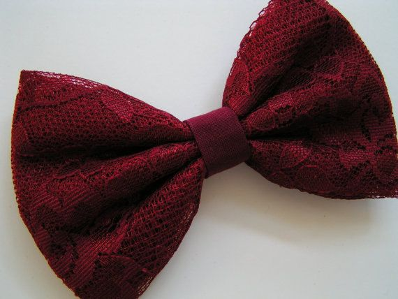 Hair bow-Crimson lace hair bow,  Hair Bows for Teens, women, Fabric Bows, hair bow, Bow, hair accessorie bow on Etsy, $3.79