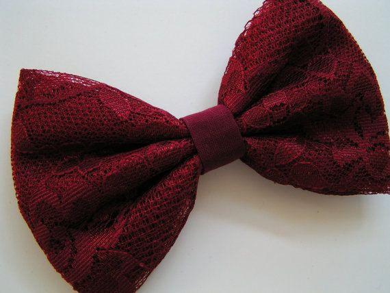 Hair bow-Crimson lace hair bow,  Hair Bows for Teens, women, Fabric Bows, hair bow, Bow, hair accessorie bow on Etsy, $3.79