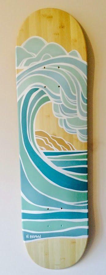 Original Surf Art Skateboard by Heather Brown www.HeatherBrownArt.com