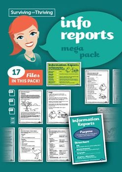 This mega pack contains 17 items  everything you will need to teach Information Reports.Included in the pack is:2 posters, each provided in A4 and A3 sizesAssessment task in Word and pdf format2 x Planners4 x sample reports1 x powerpoint2 x ordering tasks2 x facts to report tasks