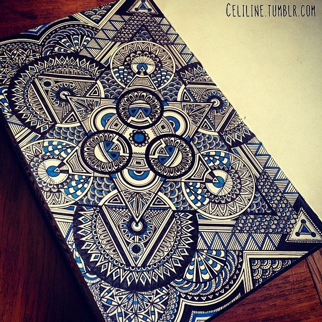 """Add a little color to your Zentangle art for an added punch of """"WOW!""""  -- created by an artist going by the name Celiline, a very talented non-professional artist from Paris."""