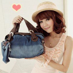 $10.46 Stylish Style Casual Women's Tote Bag With Splicing and Denim Design