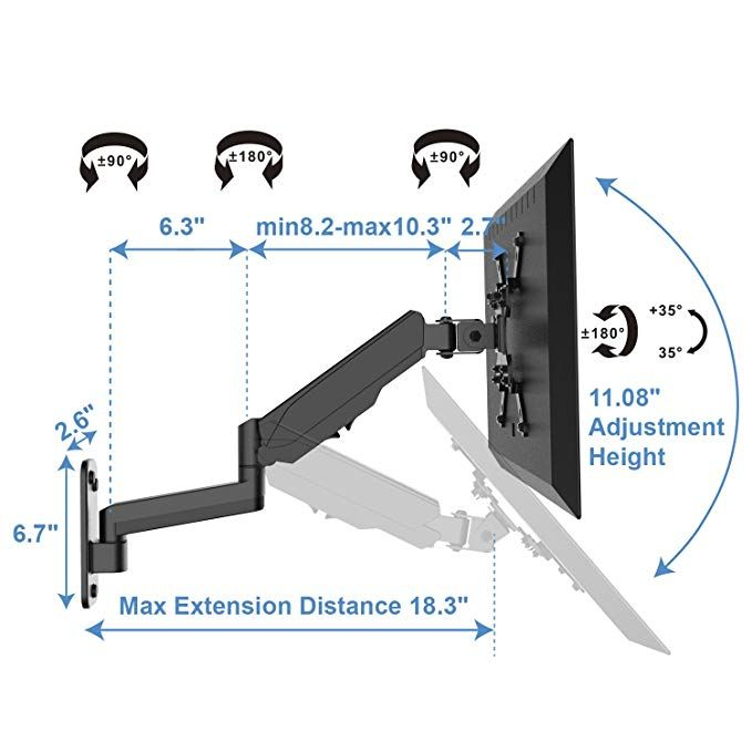 Monitor Wall Mount Bracket Articulating Adjustable Gas Spring Single Arm Stand With Vesa Extension Kit For 17 To 32 Wall Mount Bracket Tv Bracket Wall Mount