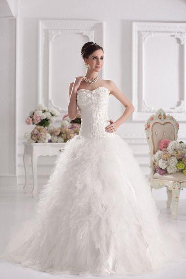 Ball Gown Sweetheart Satin Organza Sweep/Brush Train Wedding Dress