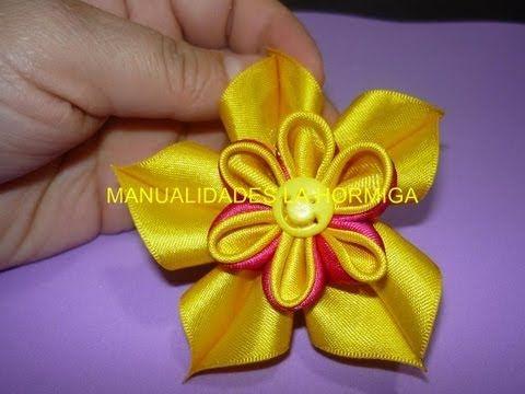 Como elaborar flores kanzashi dobles en una solo paso, flores de tela,#116 - YouTube