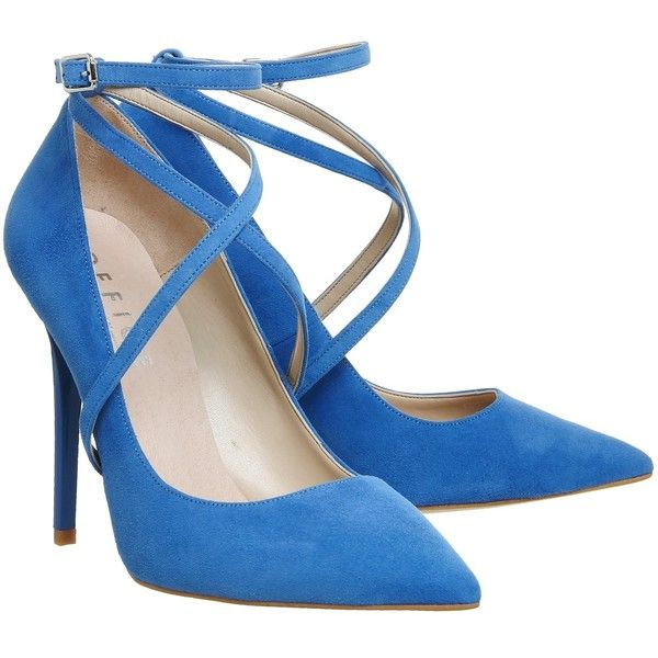 Office Hilton Cross Strap Point Courts Blue Suede ❤ liked on Polyvore featuring shoes, pumps, cross strap shoes, blue color shoes, blue suede pumps, blue suede shoes and suede leather shoes