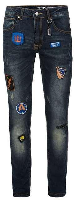ALWAYS RARE Dark Blue Badged Skinny Fit Jeans