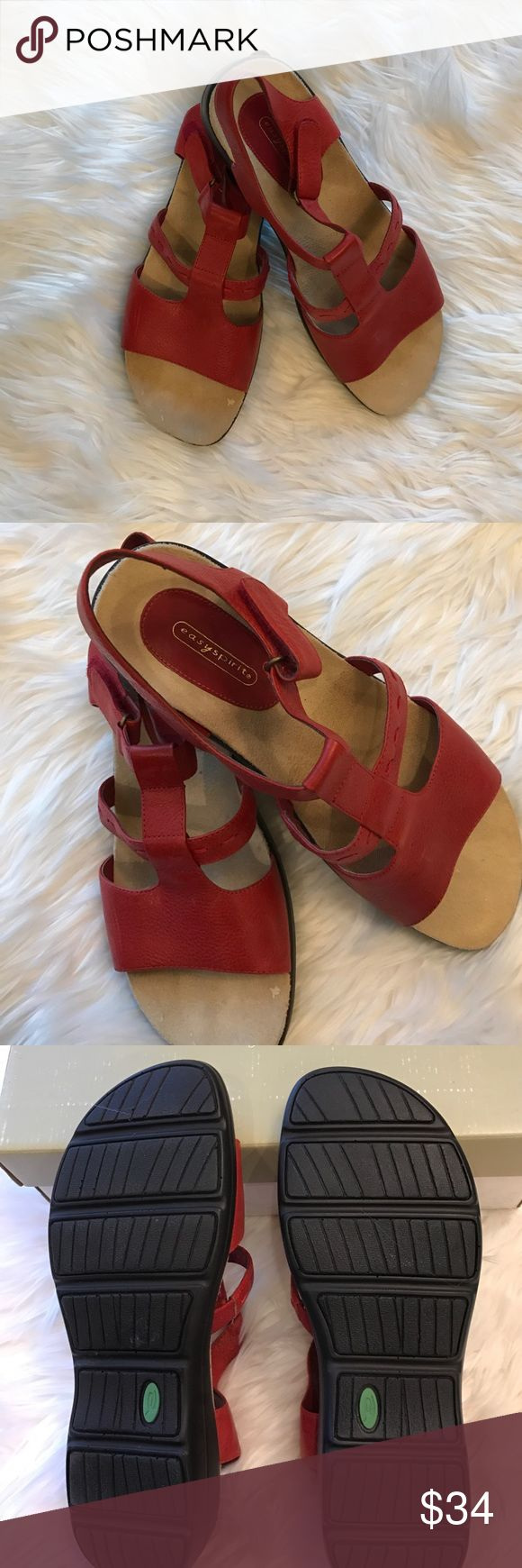 Red Easy Spirit Sandals Like New! Very comfortable but never worn!  Very cute sandals with Velcro closure on the strap.  Red stiching detail. Easy Spirit Shoes Sandals