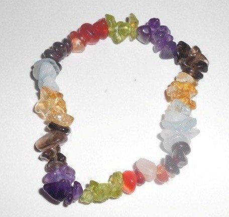 http://cheune.com/store 1 Natural Healing Crystal Chakra Multi Chip Gemstone 7 Inch Stretch Bracelet