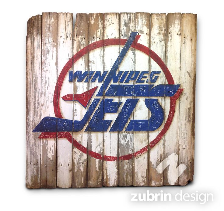 GO JETS GO! I absolutely love painting something to make it look old and vintage-y! Here we have an old Winnipeg Jets hockey logo hand painted on a set of weathered boards. Instant 'vintage sign'!! Yahoo! 3.5'x3.5' Zubrin Design on Facebook