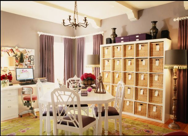 perfectly organized workroom..: Offices Shelves, Purple Crafts, Decor Ideas, Offices Rooms, Crafts Rooms, Home Offices Decor, Offices Spaces, The Offices, Organizations Offices