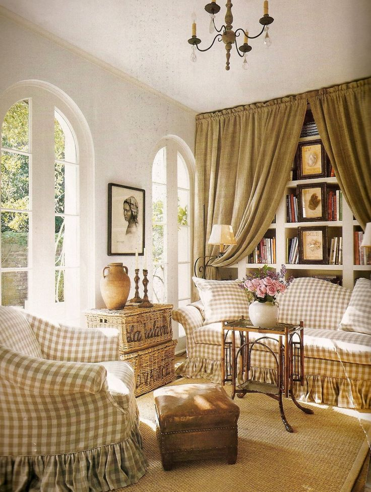 natural checks and curtains over bookcase.  Pam Pierce.: Bookcase, Interior, Living Rooms, Livingrooms, Decorating Ideas, French Country, Family Room, Burlap Curtain, Buffalo Check