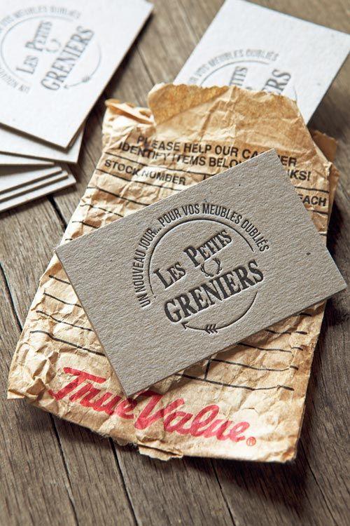 Carte de visite imprimée en recto verso sur carton gris brut 1mm/ letterpress business cards printed onto eskaboard