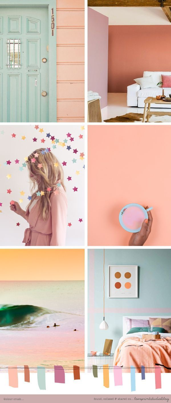 All these colors: earthy pastels (apricot, mint, pale pink, yellow, bright blue, magenta) mood board, color palette