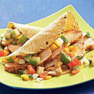 Chicken Tacos with Mango-Avocado Salsa | MyRecipes.comChicken Mango, Cleaning Eating Mango Chicken, Mr. Tacos, Chicken Tacos, Cooking Lights, Salsa Recipe, Mangoavocado Salsa, Chicken Breast, Mango Avocado Salsa