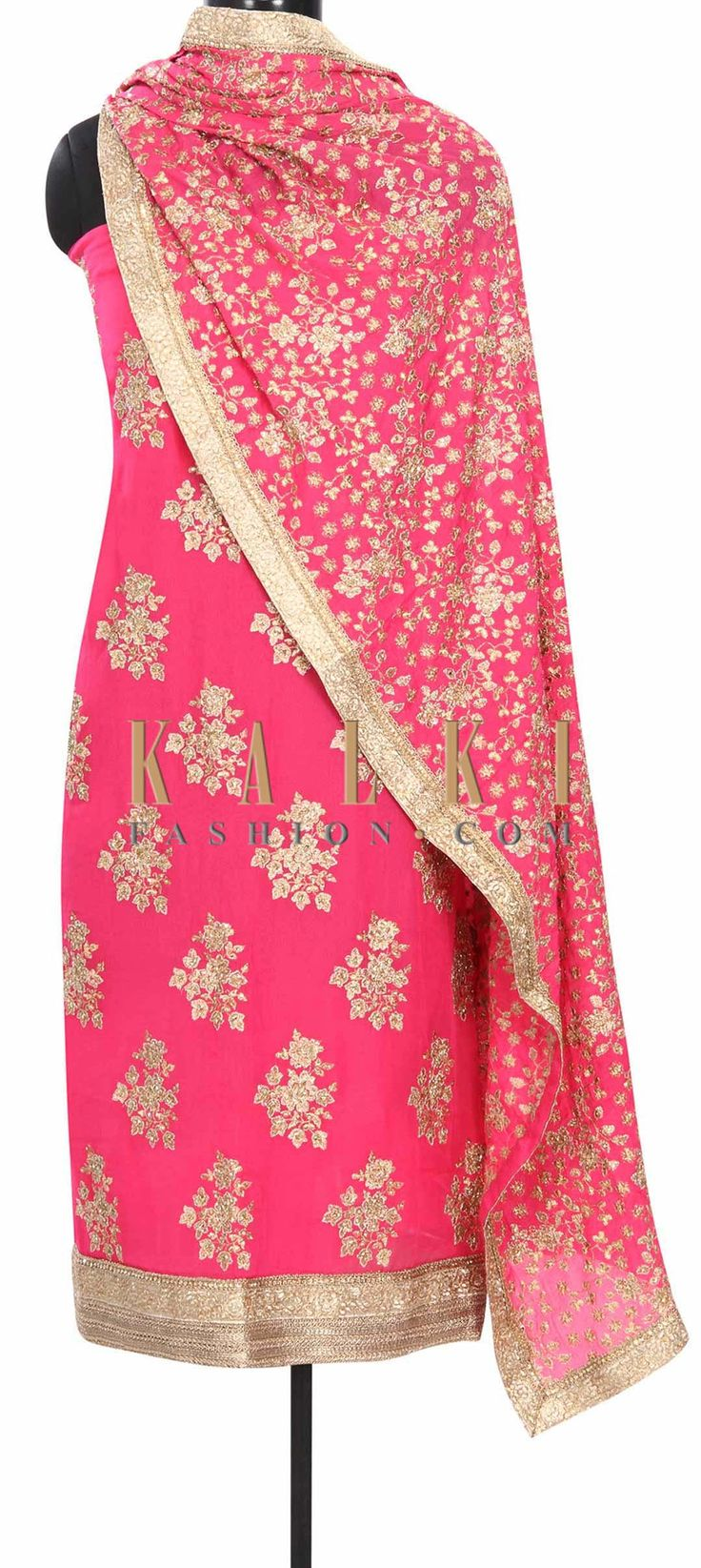 Buy Online from the link below. We ship worldwide (Free Shipping over US$100) Price- $189 Click Anywhere to Tag http://www.kalkifashion.com/pink-unstitched-suit-embellished-in-zari-embroidery-only-on-kalki-20248.html