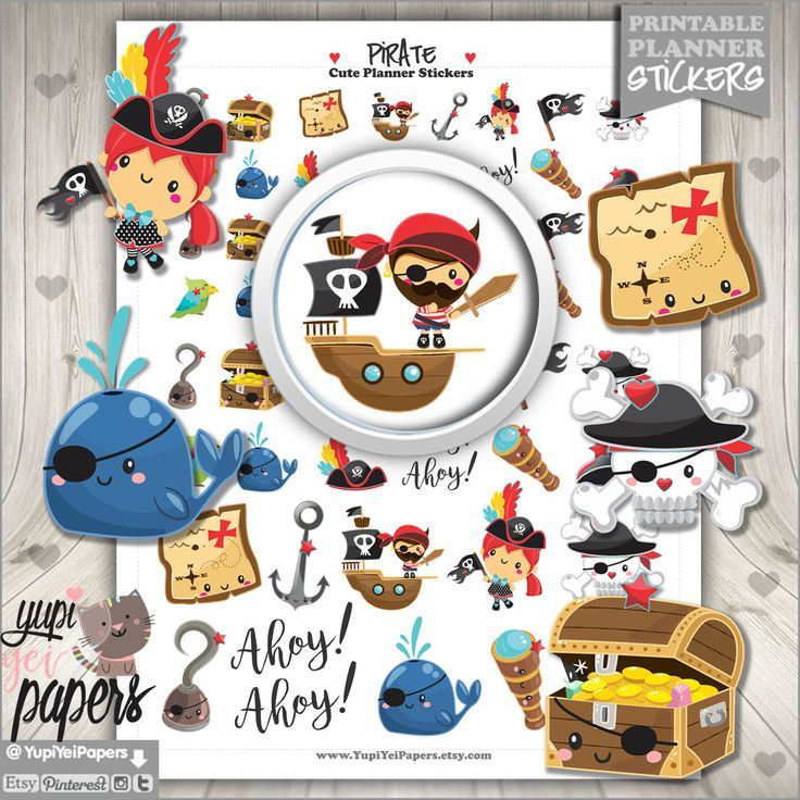 50%OFF - Pirate Stickers, Printable Planner Stickers, Planner Stickers, Pirate Boy, Pirate Girl, Kid Stickers, Digital Stickers, Stickers