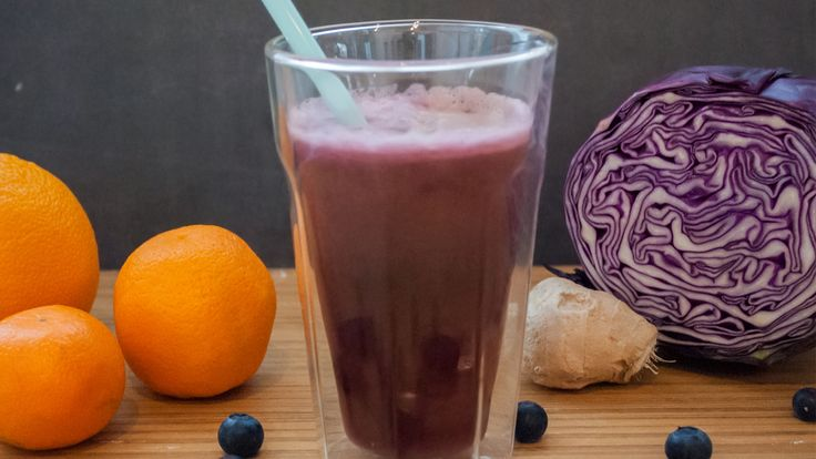 Ingredients 1/2 cup (120 ml) red cabbage 2 cups (480 ml) blueberries 1 celery stalk 1 cucumber 1 orange, peeled ½-inch piece of ginger Directions Clean all ingredients thoroughly. Cut ingredients to fit into juicer feeding chute. Run ingredients through the juicer. Enjoy!