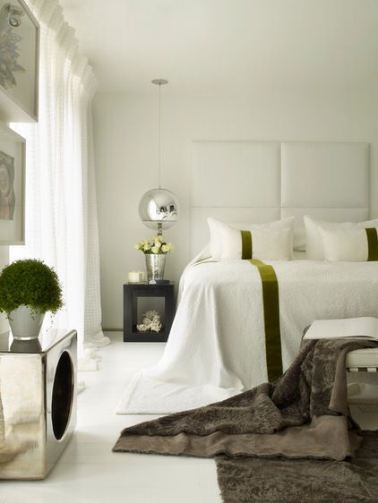 contemporary bedroom by Kelly Hoppen Interiors: Contemporary Bedrooms, Ideas, Guest Bedrooms, Bedrooms Design, Interiors, Green Stripes, Not Hill, Kelly Hoppen, Contemporary Design