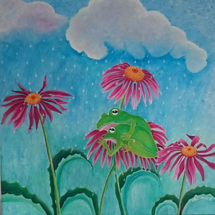 Frogs in the rain  Acrylics on canvas  Size: 60x60 cm