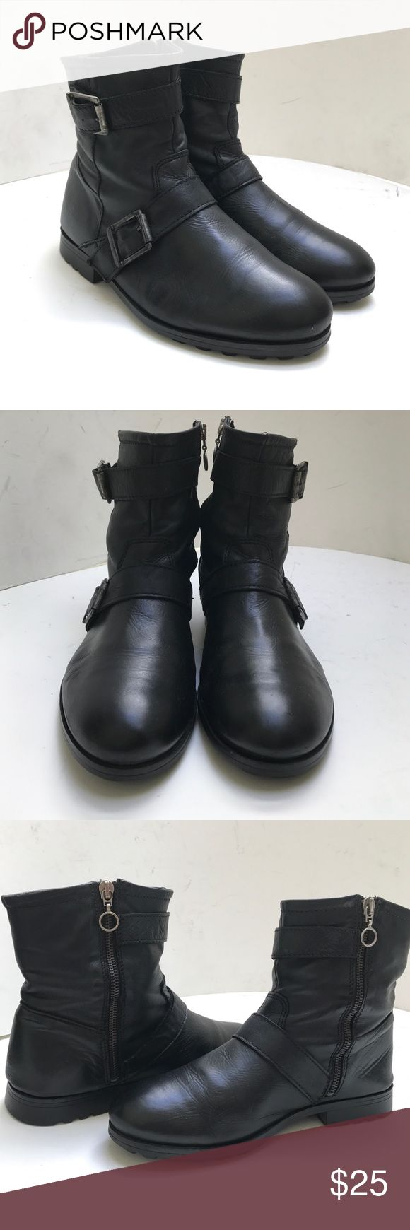 Top Shop ' Animal' black biker Moro ankle boot Hit refresh on biker boot with this strapped leather boot. Shaped with a rounded toe and strapped buckle details for plenty of attitude. 100% leather, size 39. Condition: very good with some creasing in leather from wear. Shoes Ankle Boots & Booties